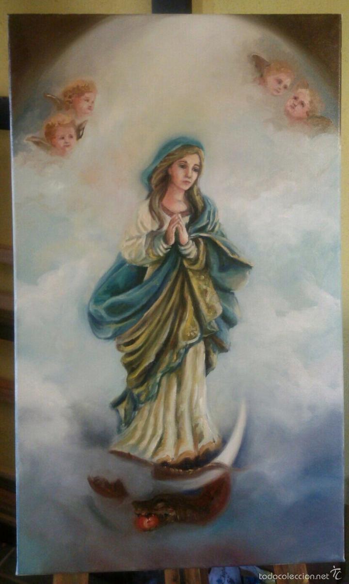 VIRGEN INMACULADA. 55X33. ORIGINAL. NO COPIA. (Arte - Arte Religioso - Pintura Religiosa - Oleo)