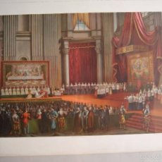 Arte: LITOGRAFIA RELIGIOSA PAPA DENTRO DE UNA CATEDRAL LLENA DE GENTE PARIS SIGLO XIX. Lote 60269363