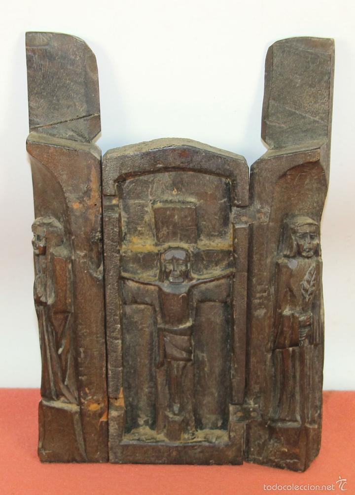 TRIPTICO RELIGIOSO EN MADERA TALLADA. MEXICO. SIGLO XIX / XX. (Arte - Arte Religioso - Trípticos)