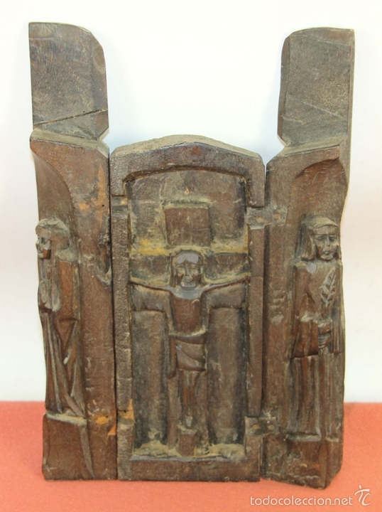 Arte: TRIPTICO RELIGIOSO EN MADERA TALLADA. MEXICO. SIGLO XIX / XX. - Foto 2 - 60435211
