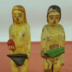 Arte: ADAN Y EVA. ESCULTURA EN MADERA TALLADA Y POLICROMADA. POPULAR. MEXICO. SIGLO XIX.. Lote 60396371