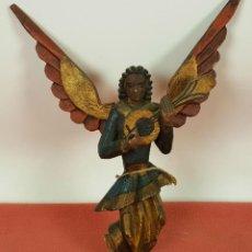 Arte: ANGEL CON LAUD. TALLA POPULAR EN MADERA POLICROMADA. MEXICO. SIGLO XIX-XX.. Lote 60429003