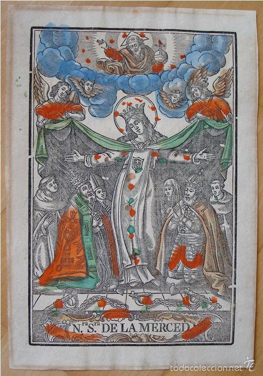 PRECIOSO GRABADO MADERA COLOREADO ÉPOCA. NUESTRA SEÑORA DE LA MERCED. (Arte - Arte Religioso - Grabados)