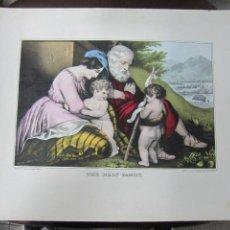 Arte: GRABADO LITOGRAFICO. THE HOLY FAMILY. 136 NASSAU BECKMAN. ST NEW YORK. LIT.SARANY & MAJOR. 45 X 35CM. Lote 60826511