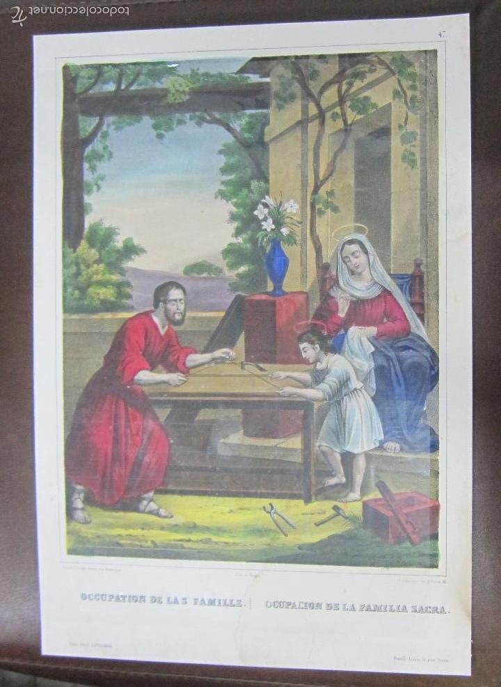 LITOGRAFIA. OCUPACION DE LA FAMILIA SACRA. LITOGRAFIA DE TURGIS. 35 X 24CM (Arte - Arte Religioso - Litografías)