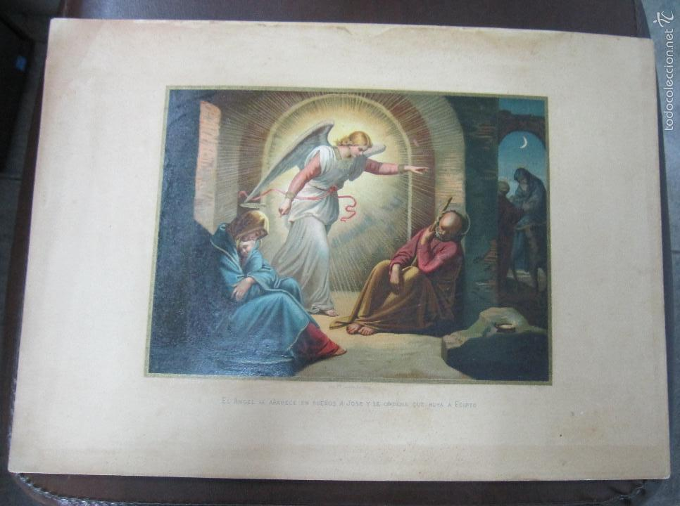 LITOGRAFIA. EL ANGEL SE APARECE EN SUEÑOS A JOSE Y LE ORDENA QUE HUYA. IMPRENTA LABIELLE. 28 X 38CM (Arte - Arte Religioso - Litografías)