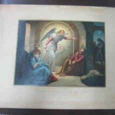 Arte: LITOGRAFIA. EL ANGEL SE APARECE EN SUEÑOS A JOSE Y LE ORDENA QUE HUYA. IMPRENTA LABIELLE. 28 X 38CM. Lote 60828943