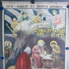 Arte: CARTEL RELIGIOSO NACIO DE MARIA LA VIRGEN EDIT. JOSÉ VILAMALA, CLASES CATEQUESIS ESCUELA AÑOS 20-30. Lote 61069267