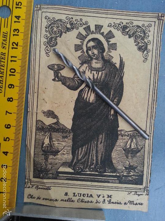 MUY ANTIGUO GRABADO SANTA LUCIA VIRGEN Y MARTIR - PAPEL ORIGINAL - LUIS F. APICOLLA S. VIAGIO 38 (Arte - Arte Religioso - Grabados)