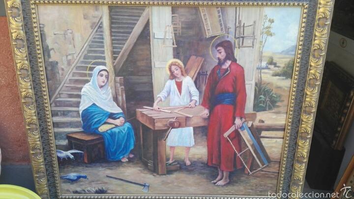 OLÉO SOBRE LIENZO, SAGRADA FAMILIA EN CARPINTERÍA (Arte - Arte Religioso - Pintura Religiosa - Oleo)