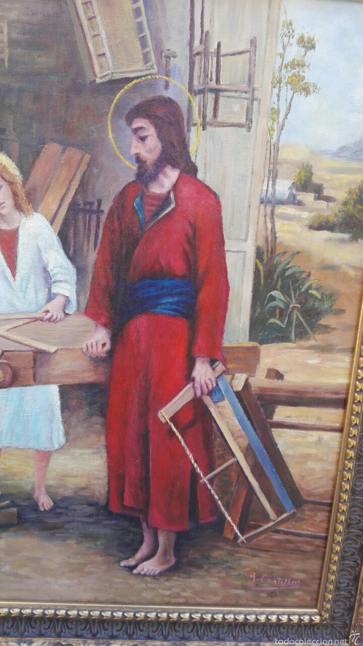 Arte: OLÉO SOBRE LIENZO, SAGRADA FAMILIA EN CARPINTERÍA - Foto 2 - 61391587