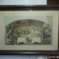 Arte: ANTIGUO GRABADO SANTA CENA DE LLUIS MASRIERA PINTOR GRABARON MARTI I MARI EN BARCELONA. Lote 61425367