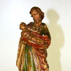 Arte: SAN JOSÉ Y NIÑO JESÚS. MADERA TALLADA. POLICROMÍA ORIGINAL. ITALIA(?). FIN XVIII. Lote 61396735