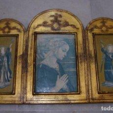 Arte: RETABLO TRÍPTICO CON MOTIVOS RELIGIOSOS. ÁNGELES.(58 CM X 40 CM). Lote 118981694
