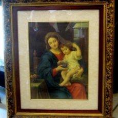 Arte: GRAN CUADRO CON ANTIGUO GRABADO DE LA VIRGEN CON NIÑO - MARCO DE MADERA EN PAN DE ORO. Lote 62408008