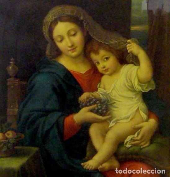 Arte: GRAN CUADRO CON ANTIGUO GRABADO DE LA VIRGEN CON NIÑO - MARCO DE MADERA EN PAN DE ORO - Foto 2 - 62408008