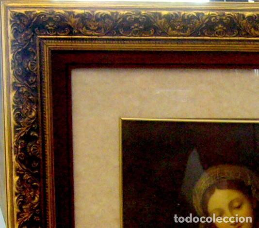 Arte: GRAN CUADRO CON ANTIGUO GRABADO DE LA VIRGEN CON NIÑO - MARCO DE MADERA EN PAN DE ORO - Foto 3 - 62408008