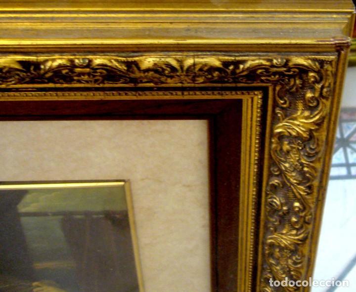 Arte: GRAN CUADRO CON ANTIGUO GRABADO DE LA VIRGEN CON NIÑO - MARCO DE MADERA EN PAN DE ORO - Foto 4 - 62408008