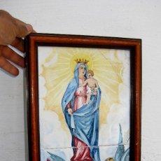 Arte: PRECIOSA VIRGEN DEL PILAR CIRCA 1920 EN AZULEJO ANTIGUO CERAMICA MANISES MORA ¿FRANCISCO? AZULEJOS . Lote 62700212
