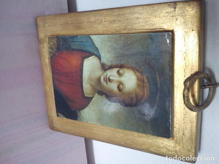 Arte: MAGNIFICO ICONE LA MADONA ES UNA LAMINA ,MADERA MACIZA PAN DE ORO 24K, MAD ESPAÑA - Foto 3 - 62710868