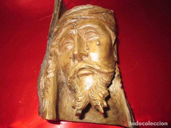 ESCULTURA EN MADERA-TALLADA EN ÁRBOL-CARA CRISTO-688 GRAMOS-PRECIOSA-VER FOTOS (Arte - Arte Religioso - Escultura)