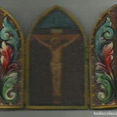 Arte: ANTIGUO ICONO DE MANO DE MADERA DE JESUS MEDIDAS ABIERTO 12 X 10 CM. CERRADO 10 X 6 CM.. Lote 62753268
