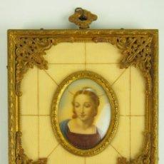 Arte: VIRGEN MARIA. MINIATURA. MARCO EN BRONCE DORADO. FRANCIA(?). SIGLO XIX-XX. Lote 47384062