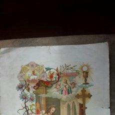 Arte: ANTIGUA LITOGRAFÍA P.ROCA DE RECUERDO PRIMERA COMUNIÓN 1906. NOVELDA 34 X24. Lote 63181758