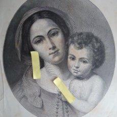 Arte: LITOGRAFIA VINTAGE ARTE DIBUJO ILUSTRACION ARTISTICA 1882 VIRGEN NIÑO JESUS RELIGION CRISTO MURILLO. Lote 63251120