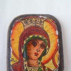 Arte: BONITO Y ANTIGUO ICONO DE LA VIRGEN MARIA SOBRE MADERA. Lote 63334412