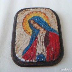 Arte: BONITO Y ANTIGUO ICONO DE LA VIRGEN MARIA SOBRE MADERA. Lote 63334684
