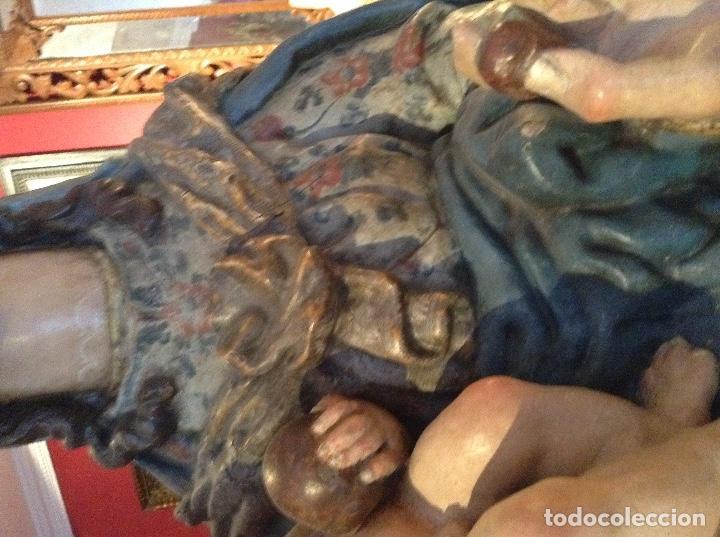 Arte: Escultura colonial de Virgen con niño siglo XVII - Foto 3 - 63427912