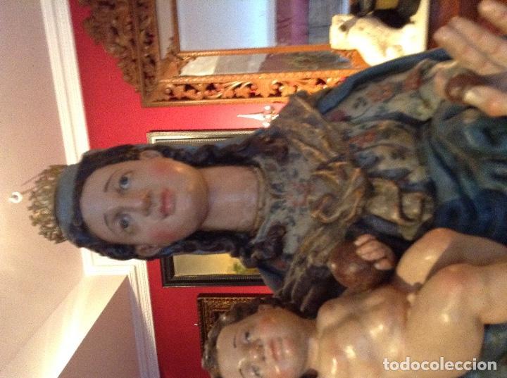 Arte: Escultura colonial de Virgen con niño siglo XVII - Foto 5 - 63427912
