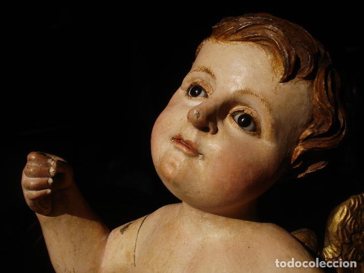 ANGEL LACERANTE SXVIII TALLA DE MADERA POLICROMADA OJOS DE CRISTAL (Arte - Arte Religioso - Escultura)