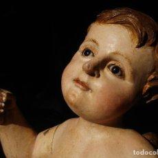Arte: ANGEL LACERANTE SXVIII TALLA DE MADERA POLICROMADA OJOS DE CRISTAL. Lote 63458932