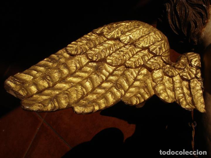 Arte: ANGEL LACERANTE SXVIII TALLA DE MADERA POLICROMADA OJOS DE CRISTAL - Foto 7 - 63458932