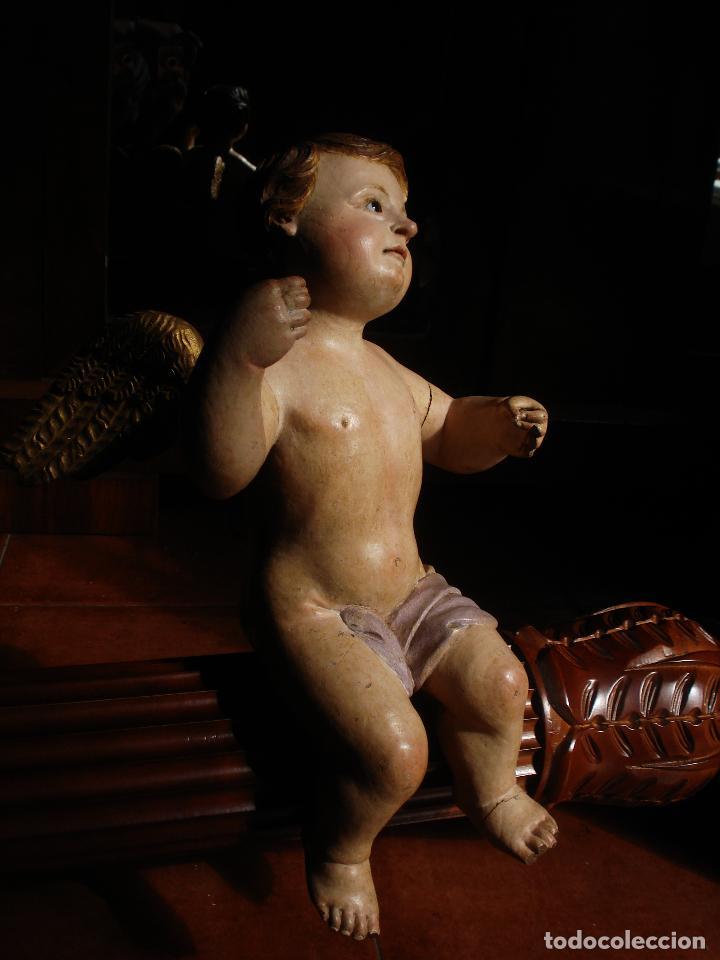 Arte: ANGEL LACERANTE SXVIII TALLA DE MADERA POLICROMADA OJOS DE CRISTAL - Foto 8 - 63458932
