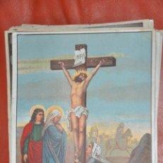 Arte: CRUCIFICADO TRES MARIAS , LITOGRAFIA POSIBLEMENTE DE RAFAEL ALCALÁ , MÁLAGA . Lote 63527600