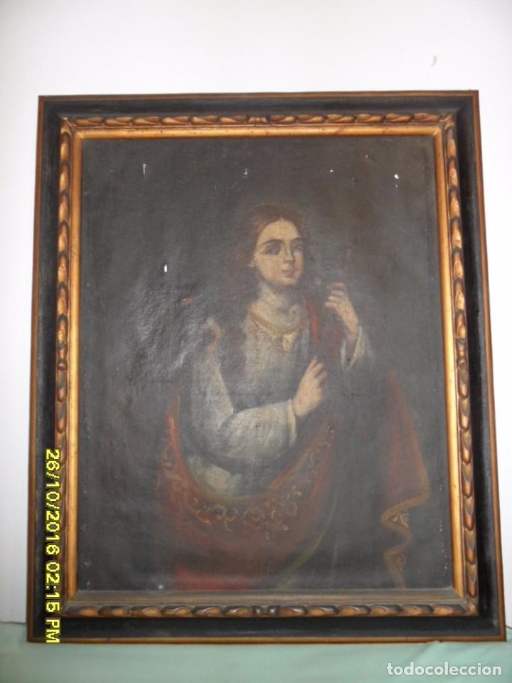 SIGLO XVII BONITO CUADRO RELIGIOSO DE UNA SANTA. (Arte - Arte Religioso - Pintura Religiosa - Oleo)