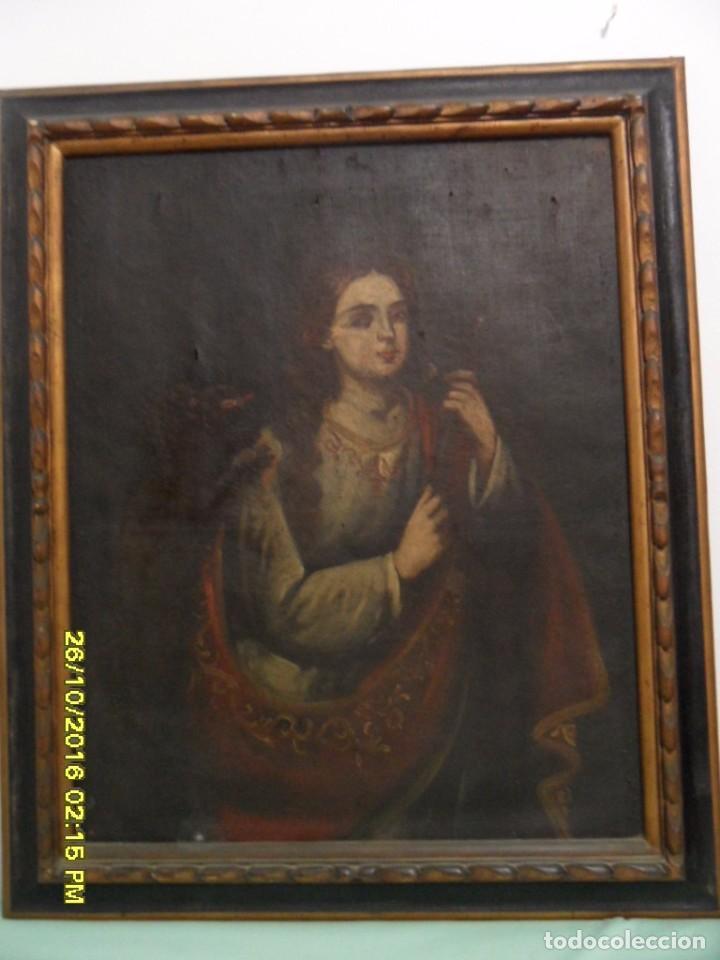Arte: SIGLO XVII BONITO CUADRO RELIGIOSO DE UNA SANTA. - Foto 2 - 63769587