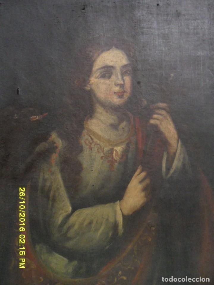 Arte: SIGLO XVII BONITO CUADRO RELIGIOSO DE UNA SANTA. - Foto 3 - 63769587