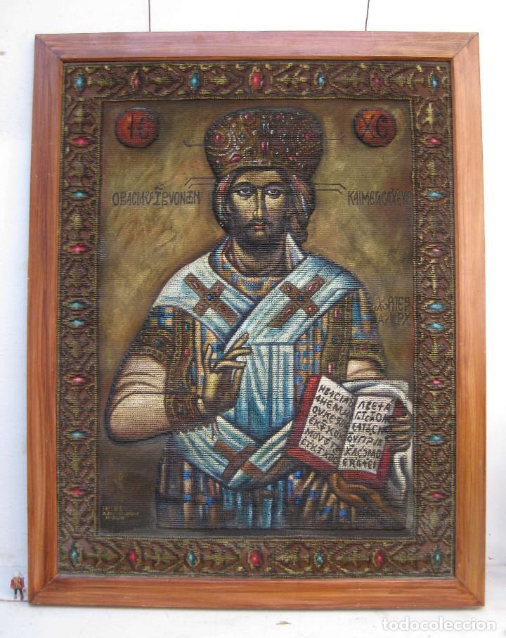 AÑOS 30 CRISTO BIZANTINO ICONO RUSO JESUCRISTO ORTODOXO OLEO TAPIZ A.JAIME M.PUCHE MADRID TALLERES (Arte - Arte Religioso - Pintura Religiosa - Oleo)