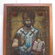 Arte: AÑOS 30 CRISTO BIZANTINO ICONO RUSO JESUCRISTO ORTODOXO OLEO TAPIZ A.JAIME M.PUCHE MADRID TALLERES. Lote 64116471