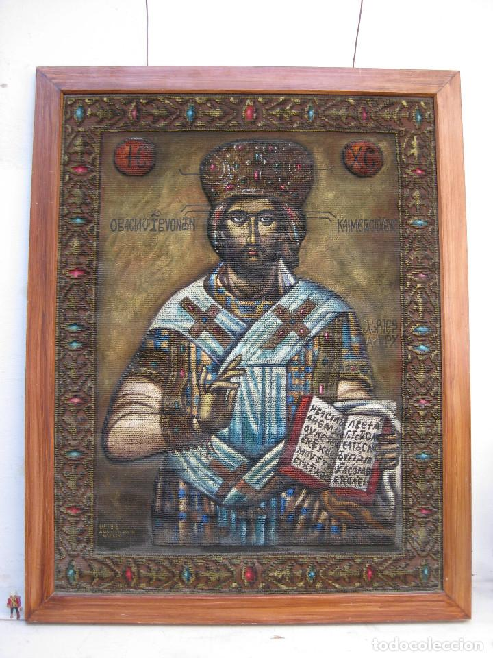 Arte: AÑOS 30 CRISTO BIZANTINO ICONO RUSO JESUCRISTO ORTODOXO OLEO TAPIZ a.jaime m.puche madrid TALLERES - Foto 5 - 64116471