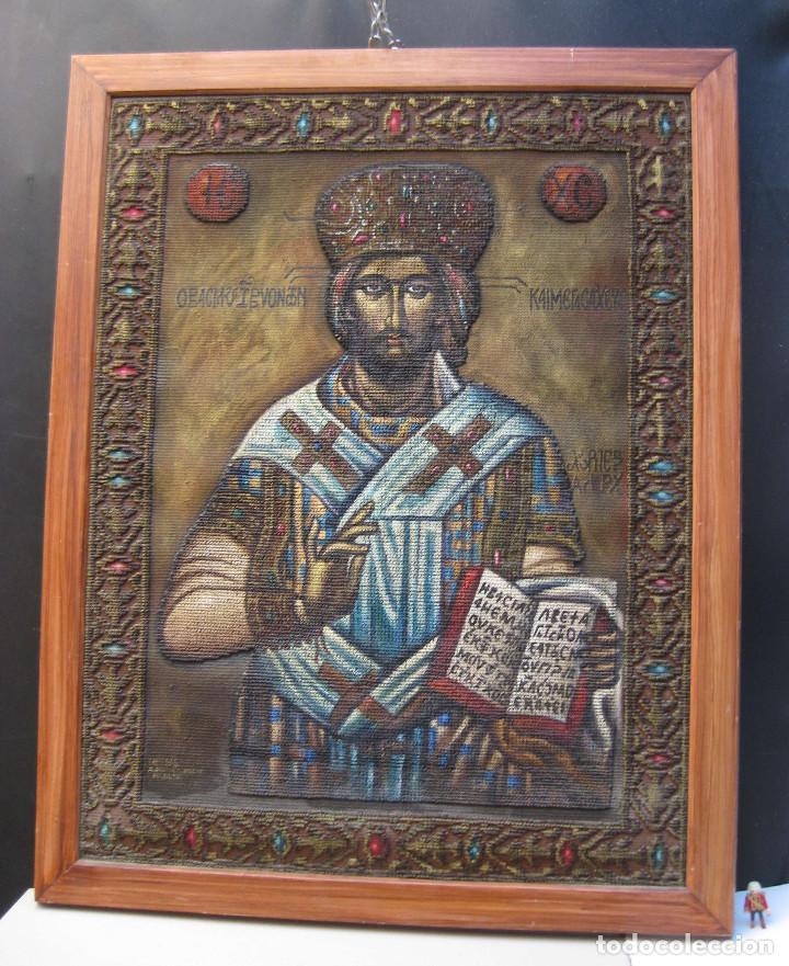 Arte: AÑOS 30 CRISTO BIZANTINO ICONO RUSO JESUCRISTO ORTODOXO OLEO TAPIZ a.jaime m.puche madrid TALLERES - Foto 6 - 64116471