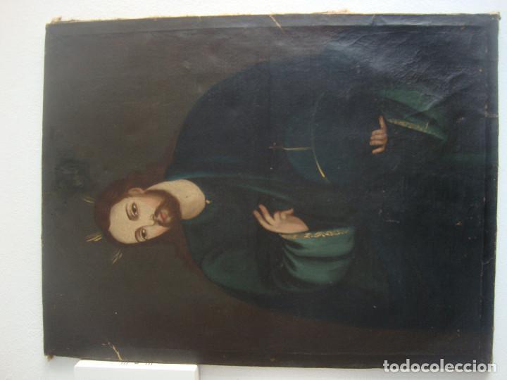 Arte: Oleo sobre lienzo de Jesus siglo XIX - Foto 3 - 64507999
