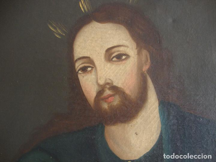 Arte: Oleo sobre lienzo de Jesus siglo XIX - Foto 4 - 64507999