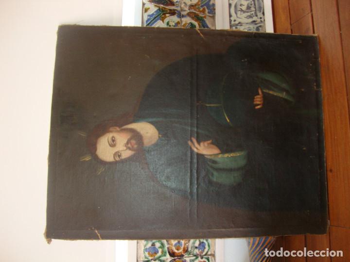 Arte: Oleo sobre lienzo de Jesus siglo XIX - Foto 8 - 64507999