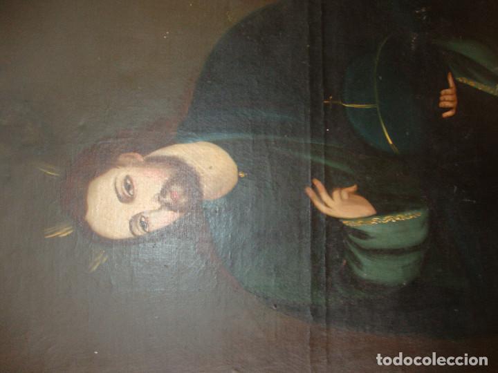 Arte: Oleo sobre lienzo de Jesus siglo XIX - Foto 9 - 64507999