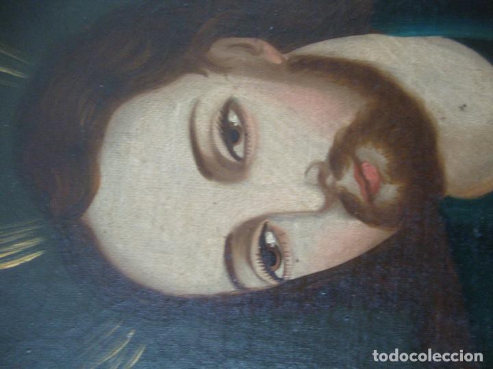 Arte: Oleo sobre lienzo de Jesus siglo XIX - Foto 11 - 64507999